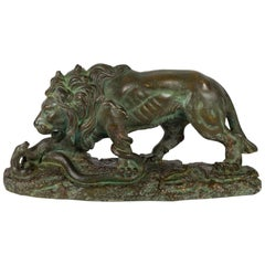 Beautiful Plaster Sculpture, Lion and Snake, Romeo Capovani, Italy, circa 1925