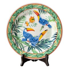 Beautiful Plate Made in Japan with Two Tropical Birds in a Forest