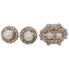 Beautiful Platinum and Gold Ring and Earrings Rose Cut Diamonds and Pearls