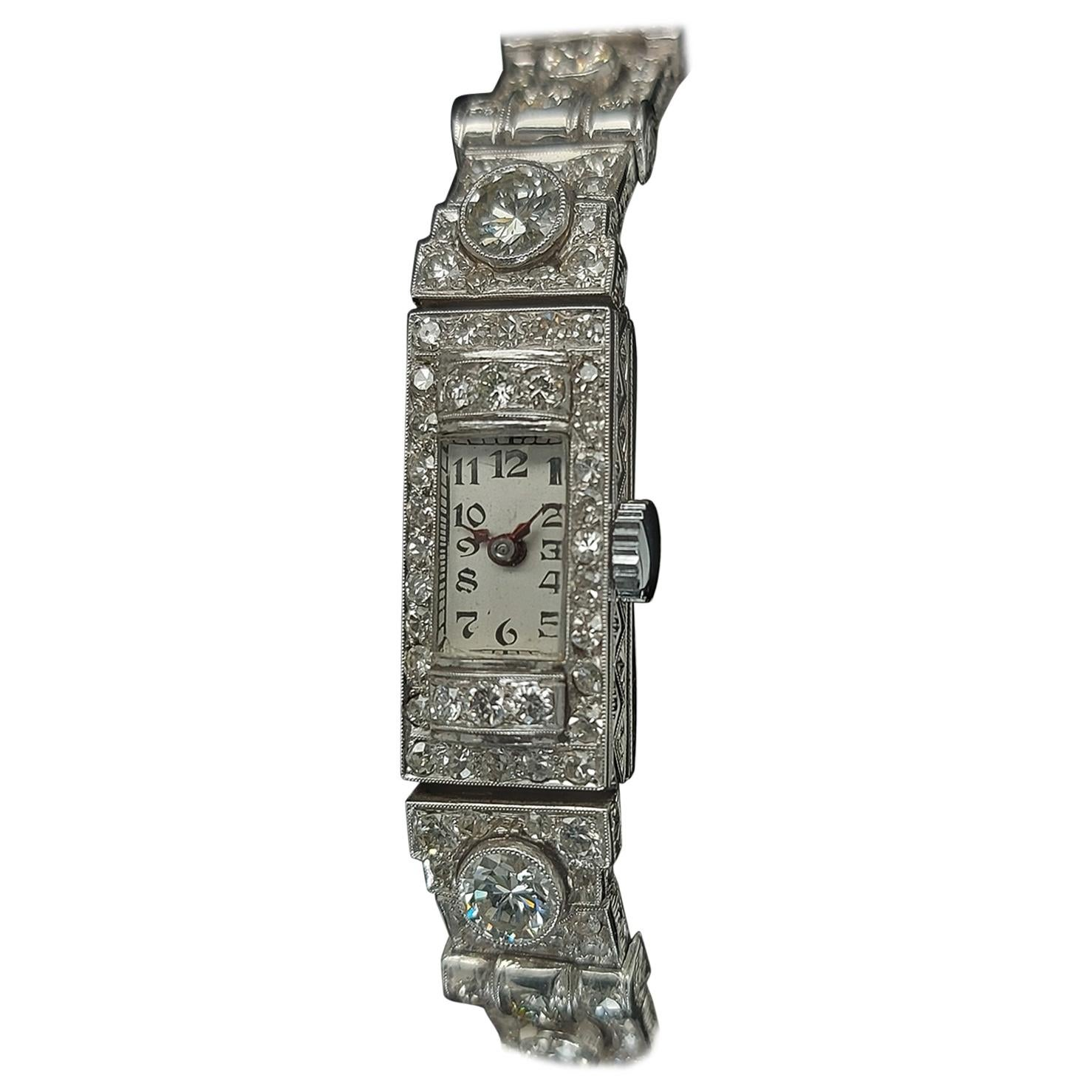 Beautiful Platinum Diamond Art Deco Watch Diamond Bracelet