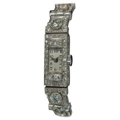 Beautiful Platinum Diamond Art Deco Watch Diamond Bracelet