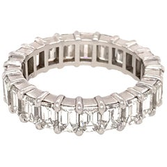 Beautiful Platinum Emerald Cut Diamond Eternity Band Ring