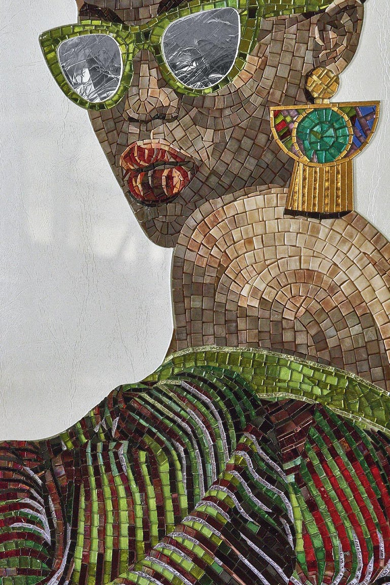 Other Beautiful Portrait Artistic Mosaic on white metal support holes on back to hang For Sale