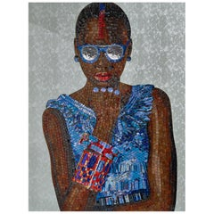 Beautiful Portrait Artistic Mosaic on White Metal Support Holes on Back to Hang