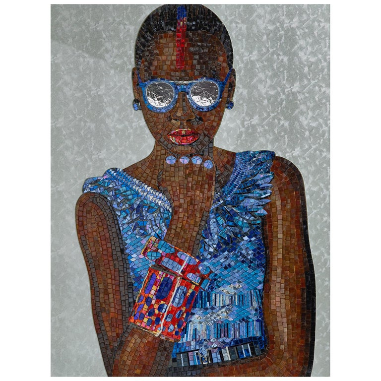 Beautiful Portrait Artistic Mosaic on White Metal Support Holes on Back to Hang For Sale