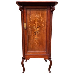 Beautiful & Practical Art Nouveau Style Cabinet with Inlaid Door & Five Drawers