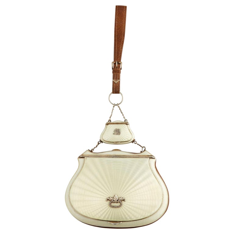 Beautiful Quality Sterling Silver and Guilloche Enamel Ladies Purse, circa 1920 For Sale