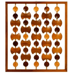 Beautiful Rare Large Abstract Teak Wall Decoration Made in Denmark