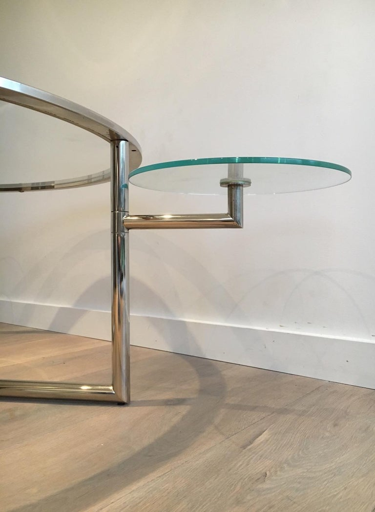 Beautiful Rare Round Chrome Coffee Table with Removable Round Glass Shelves For Sale 4
