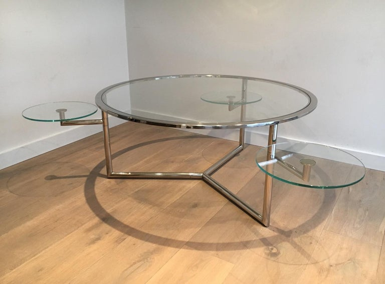 Beautiful Rare Round Chrome Coffee Table with Removable Round Glass Shelves For Sale 6