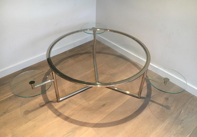 Beautiful Rare Round Chrome Coffee Table with Removable Round Glass Shelves For Sale 7