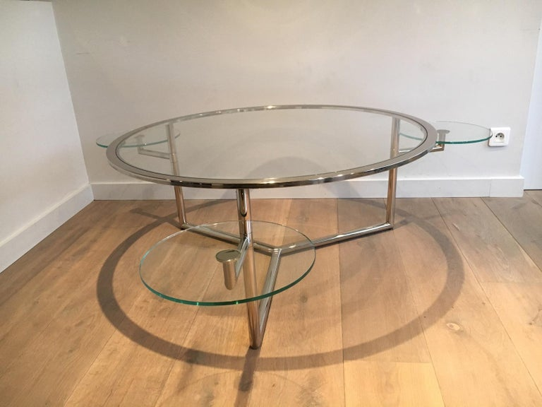 Beautiful Rare Round Chrome Coffee Table with Removable Round Glass Shelves For Sale 8