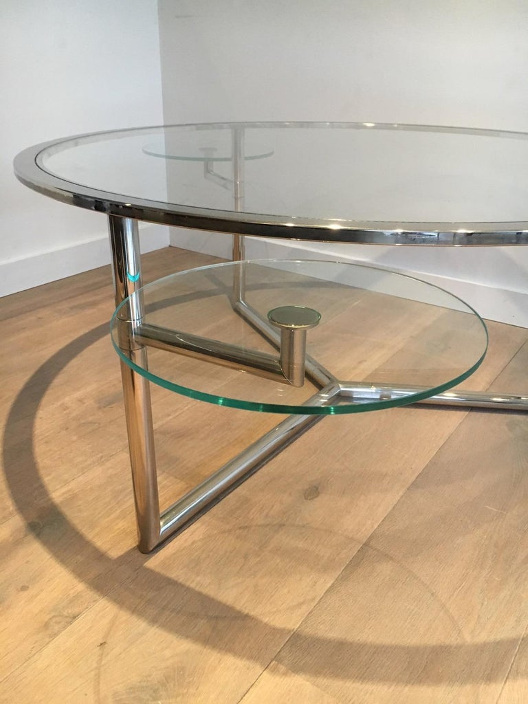 Beautiful Rare Round Chrome Coffee Table with Removable Round Glass Shelves For Sale 9