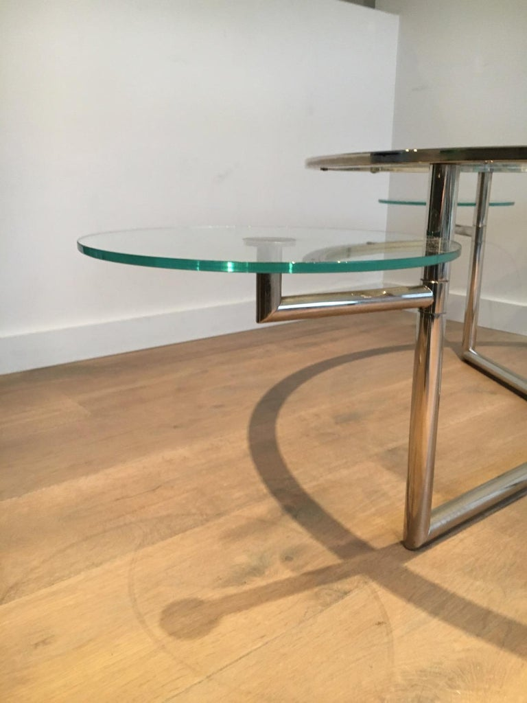Beautiful Rare Round Chrome Coffee Table with Removable Round Glass Shelves For Sale 10