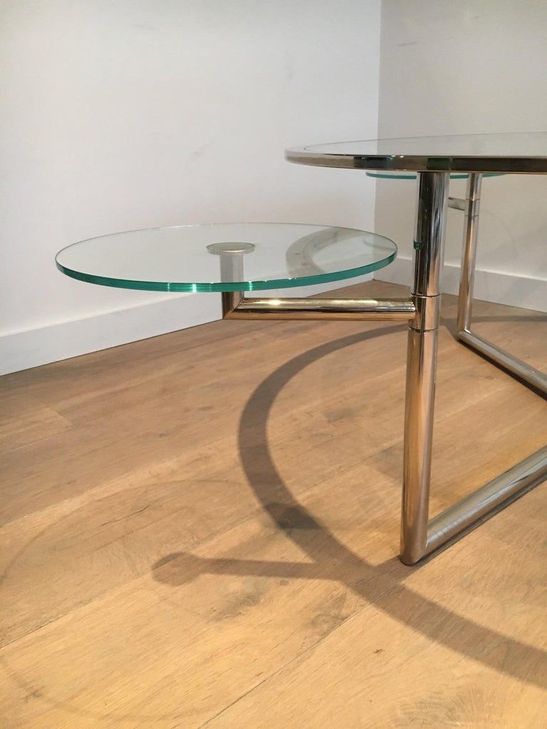 Beautiful Rare Round Chrome Coffee Table with Removable Round Glass Shelves For Sale 11