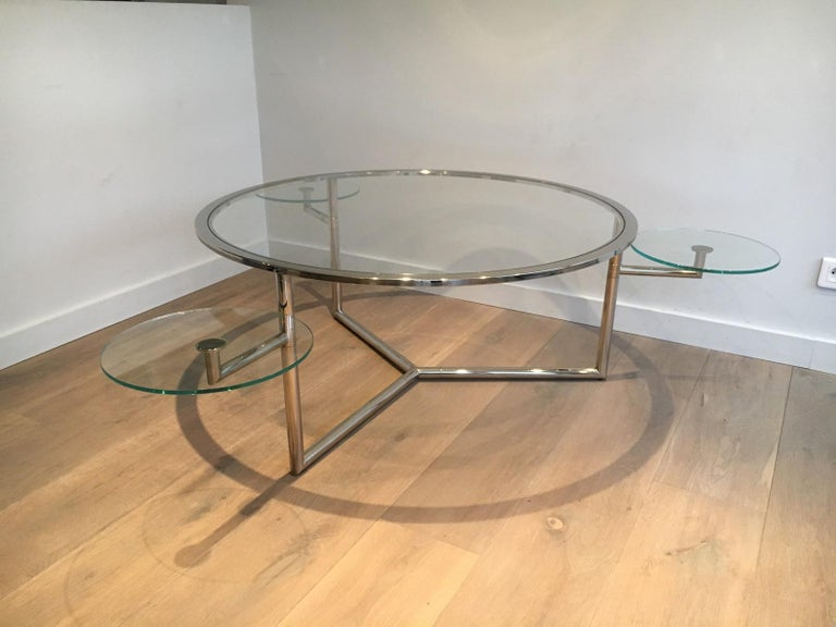 Beautiful Rare Round Chrome Coffee Table with Removable Round Glass Shelves For Sale 12