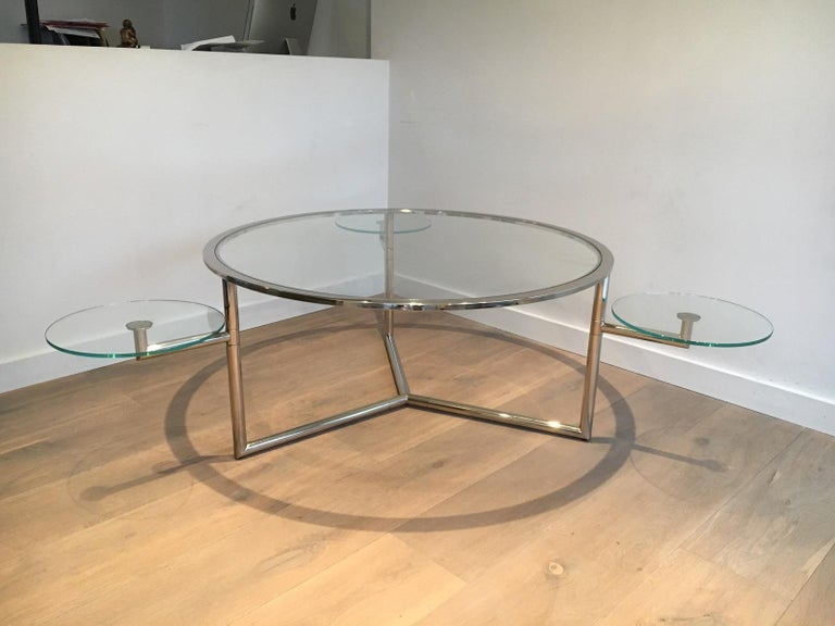 Beautiful Rare Round Chrome Coffee Table with Removable Round Glass Shelves For Sale 13