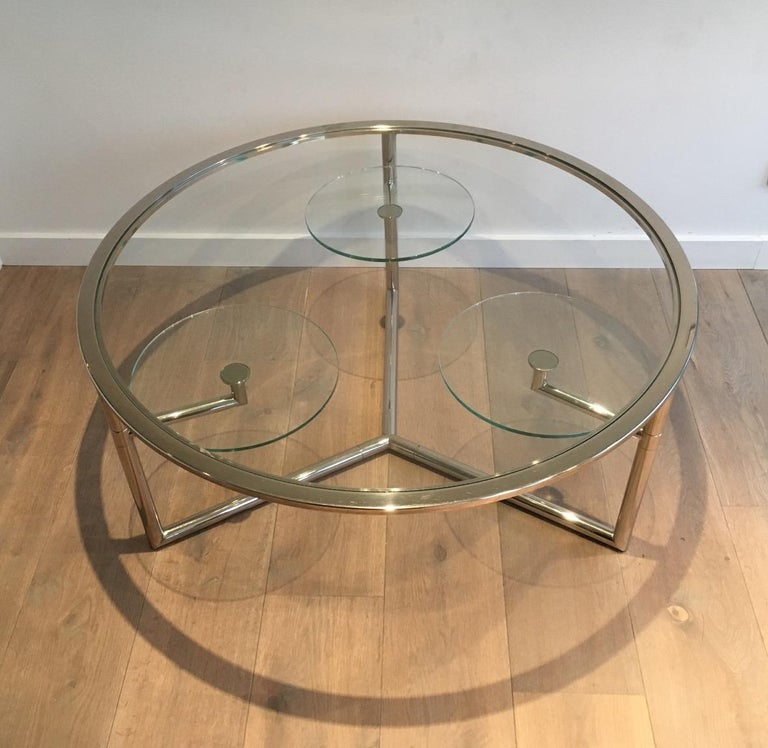 Mid-Century Modern Beautiful Rare Round Chrome Coffee Table with Removable Round Glass Shelves For Sale
