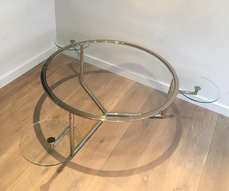 French Beautiful Rare Round Chrome Coffee Table with Removable Round Glass Shelves For Sale