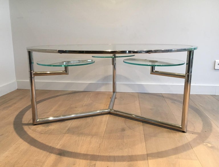 Late 20th Century Beautiful Rare Round Chrome Coffee Table with Removable Round Glass Shelves For Sale