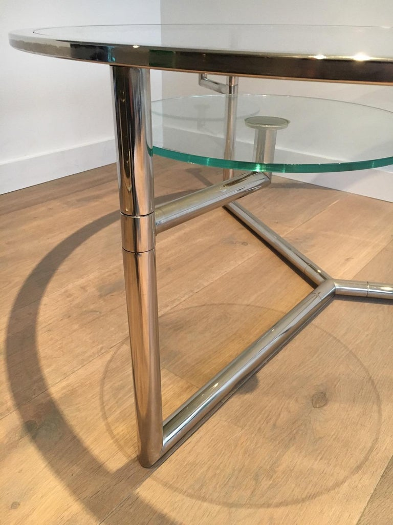 Beautiful Rare Round Chrome Coffee Table with Removable Round Glass Shelves For Sale 1