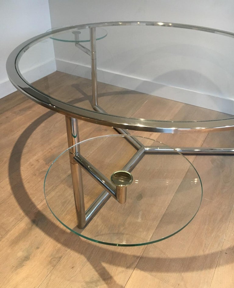 Beautiful Rare Round Chrome Coffee Table with Removable Round Glass Shelves For Sale 2