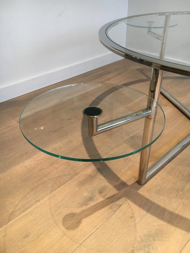 Beautiful Rare Round Chrome Coffee Table with Removable Round Glass Shelves For Sale 3