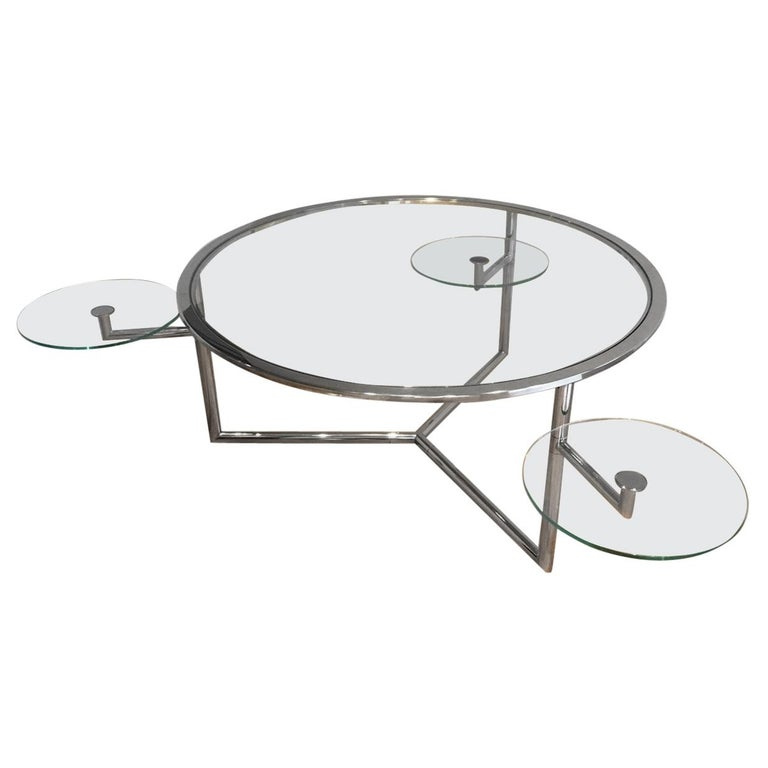 Beautiful Rare Round Chrome Coffee Table with Removable Round Glass Shelves For Sale