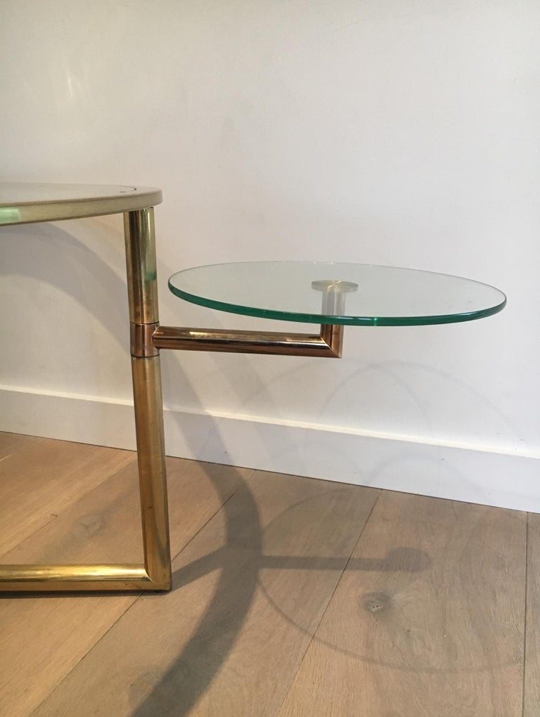 Beautiful Rare Round Gold Gilt Coffee Table with Removable Round Glass Shelves For Sale 4