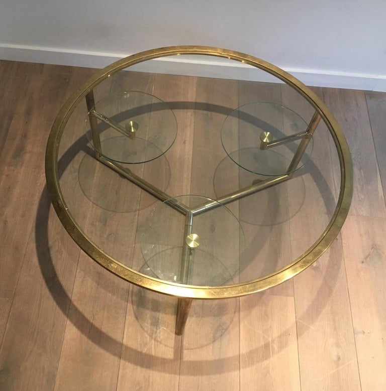 Beautiful Rare Round Gold Gilt Coffee Table with Removable Round Glass Shelves For Sale 6