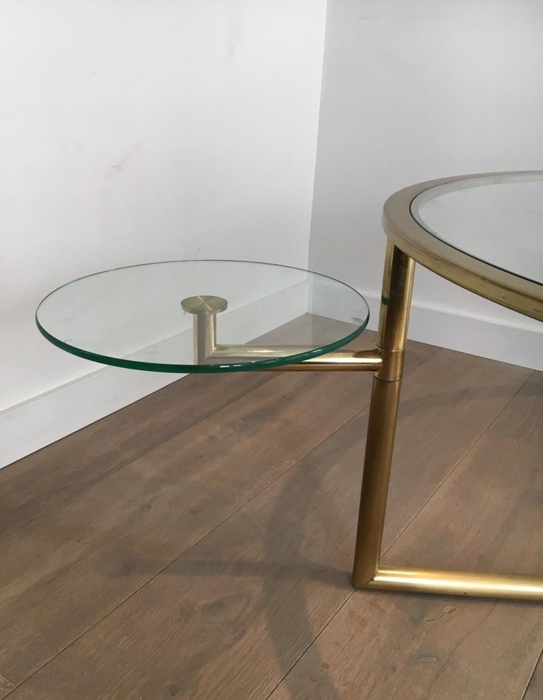Beautiful Rare Round Gold Gilt Coffee Table with Removable Round Glass Shelves For Sale 10