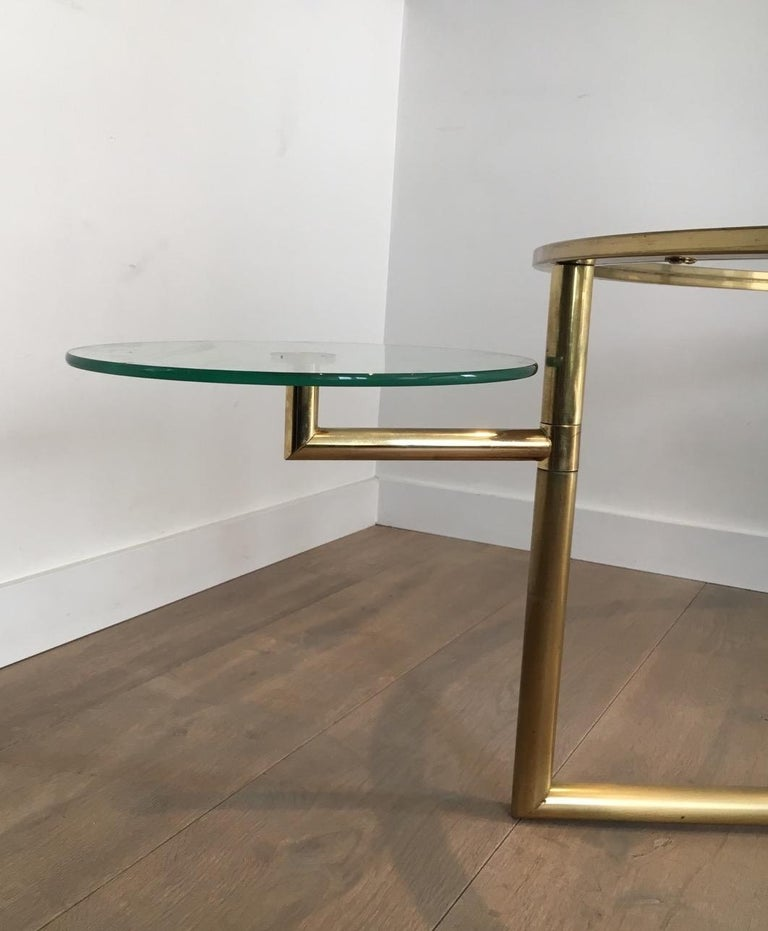 Beautiful Rare Round Gold Gilt Coffee Table with Removable Round Glass Shelves For Sale 11