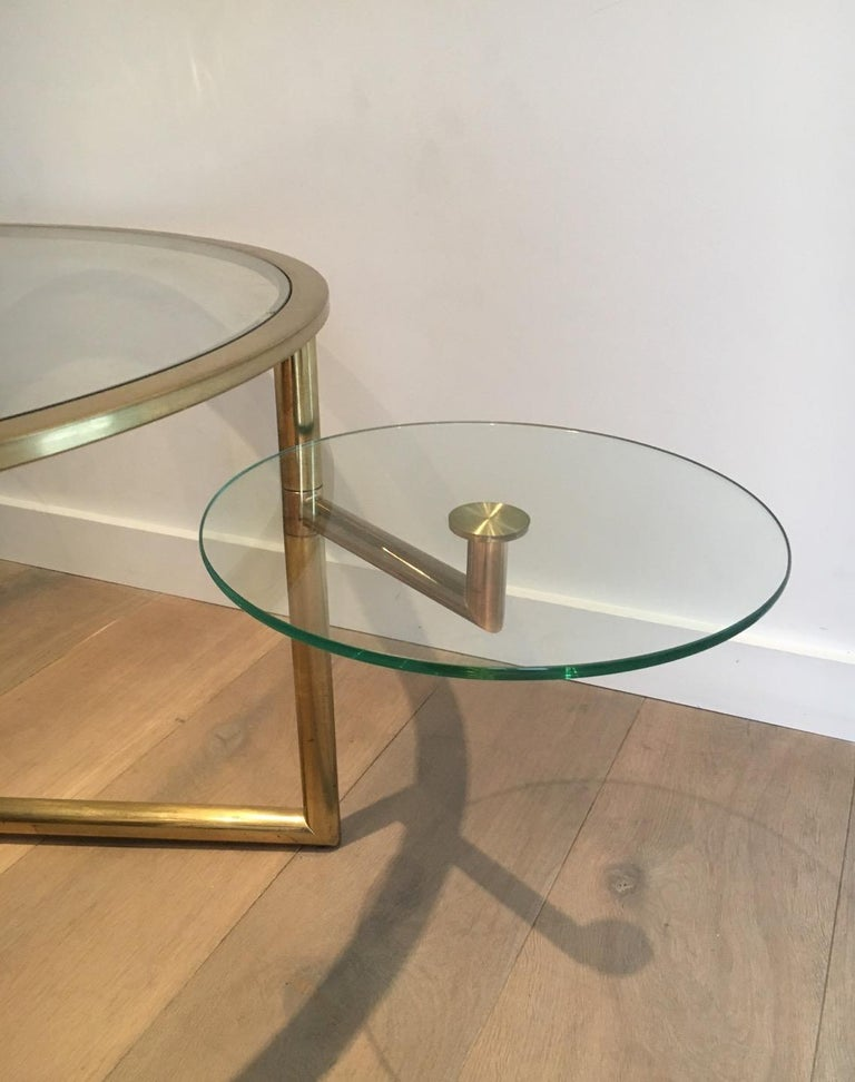 Beautiful Rare Round Gold Gilt Coffee Table with Removable Round Glass Shelves For Sale 13