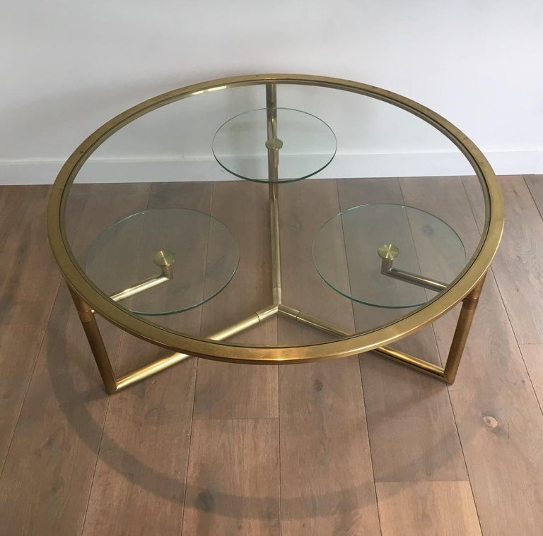 French Beautiful Rare Round Gold Gilt Coffee Table with Removable Round Glass Shelves For Sale