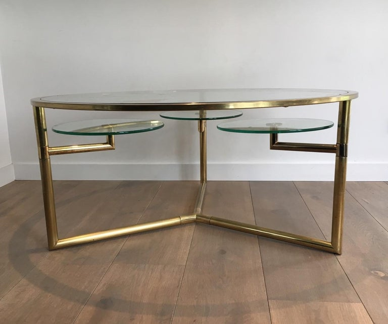 Late 20th Century Beautiful Rare Round Gold Gilt Coffee Table with Removable Round Glass Shelves For Sale