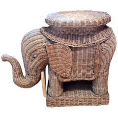 Beautiful Rattan Wicker Elephant Side Table, France, 1960s