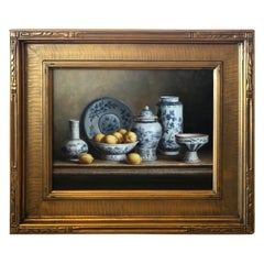 Beautiful Realistic Still Life Painting of Blue and White Chinese Export