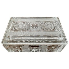 Beautiful Rectangular Star Cut Crystal Dish or Box with Cover