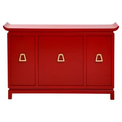 Beautiful Red Lacquered Cabinet by James Mont