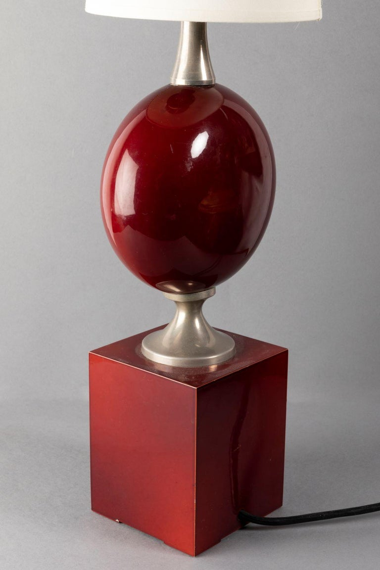 Late 20th Century Beautiful Red Lacquered Metal Table Lamp by Philippe Barbier, France, 1970s For Sale