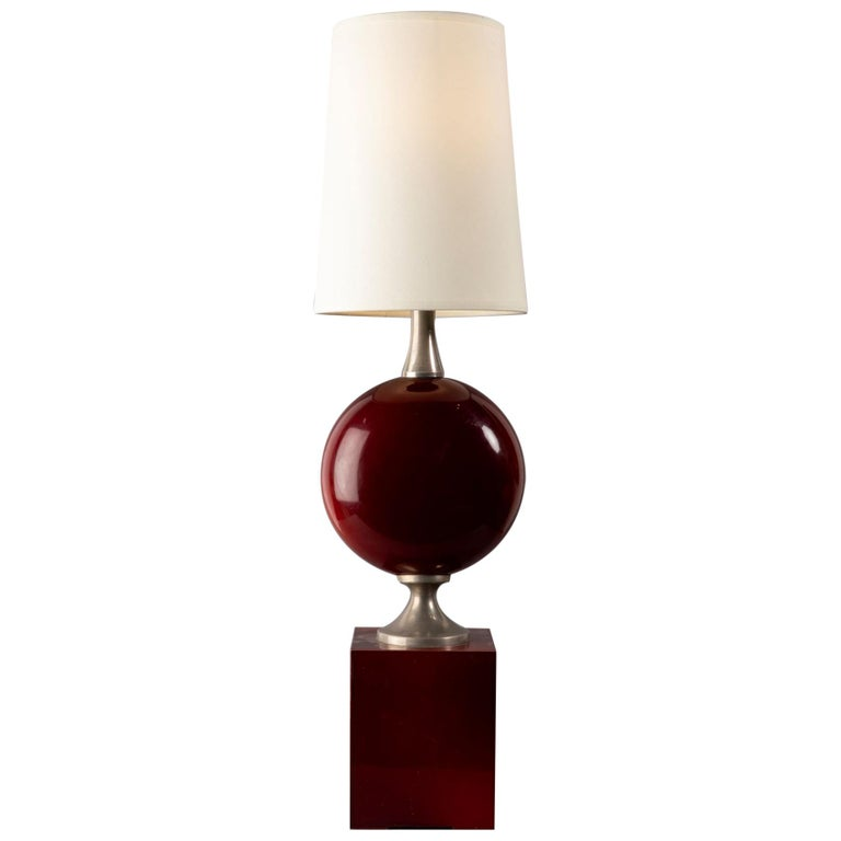 Beautiful Red Lacquered Metal Table Lamp by Philippe Barbier, France, 1970s For Sale