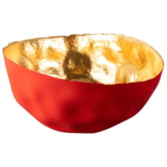 Beautiful Red Thin Porcelain Bowl, Interior Gilded by Aline Toupry, France, 2019