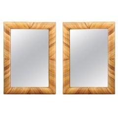 Beautiful Restored Pair Mirrors in Bamboo, circa 1980