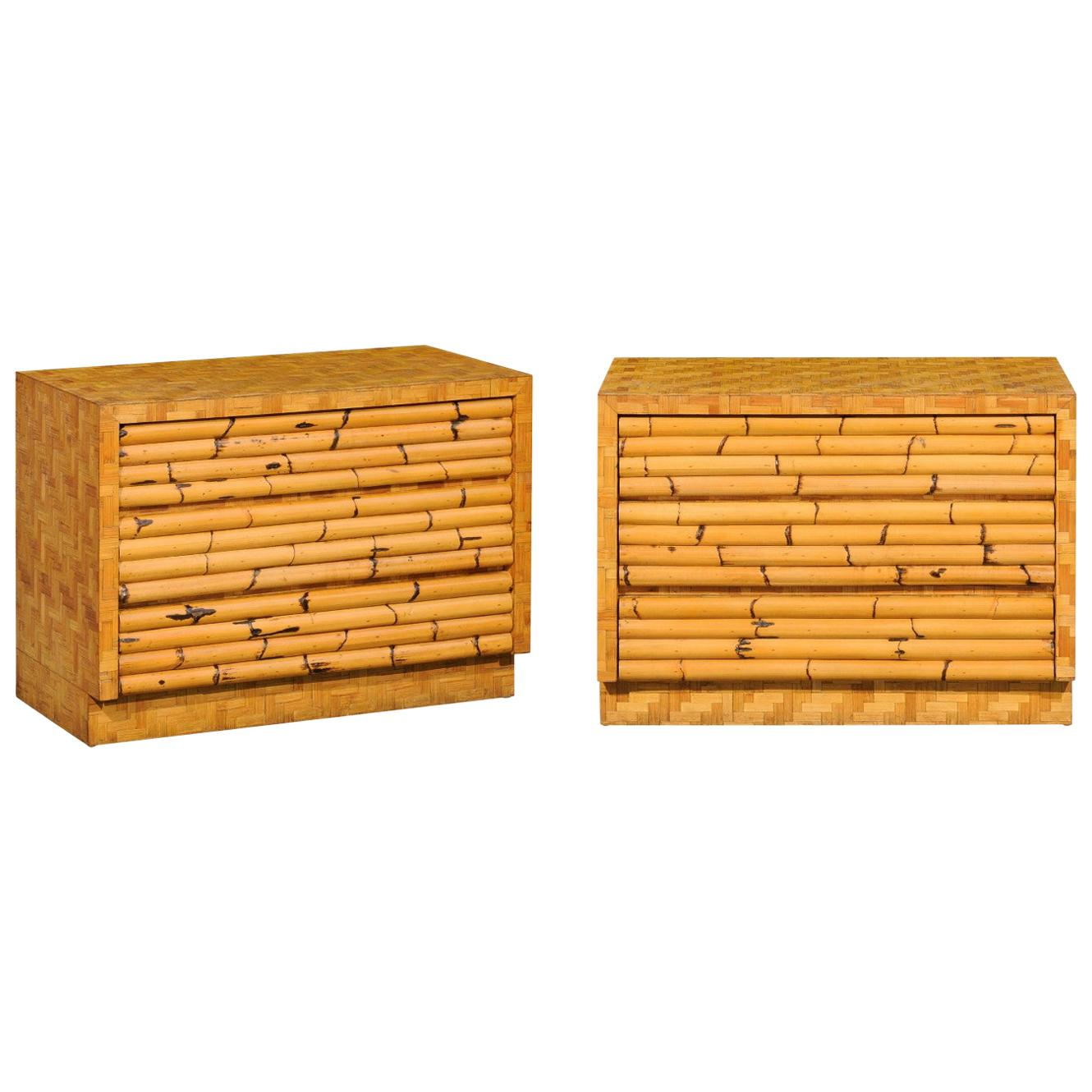 Beautiful Restored Pair of Bamboo and Cane Parquetry Commodes, circa 1975