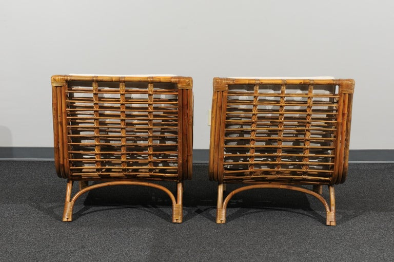 Beautiful Restored Pair of Birdcage Style Rattan Loungers, circa 1955 For Sale 3