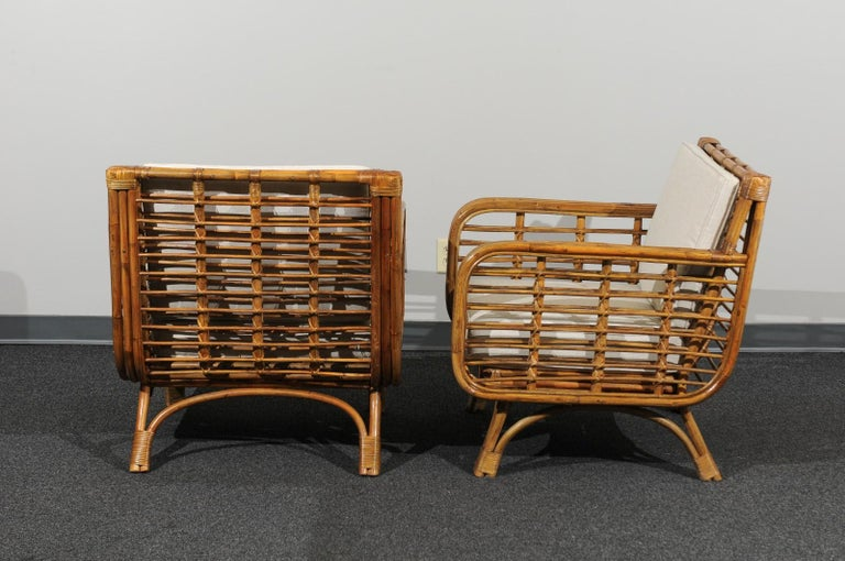 Beautiful Restored Pair of Birdcage Style Rattan Loungers, circa 1955 For Sale 4