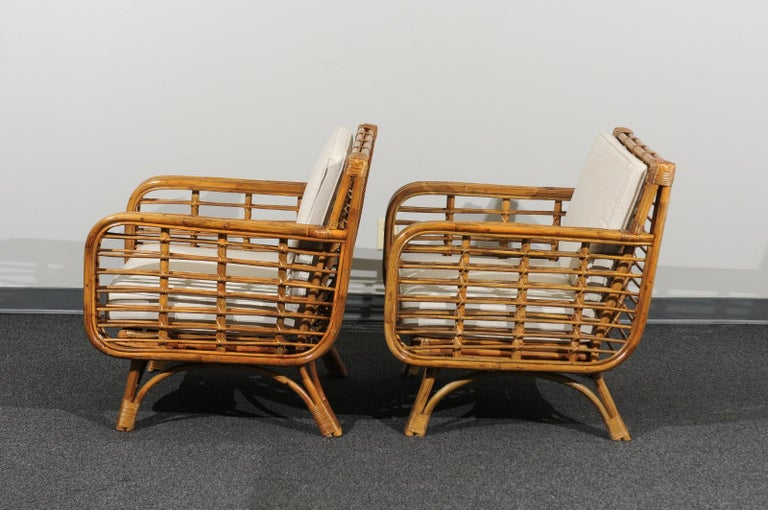 Beautiful Restored Pair of Birdcage Style Rattan Loungers, circa 1955 For Sale 5