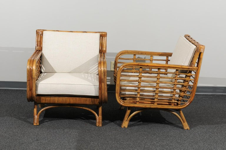 Beautiful Restored Pair of Birdcage Style Rattan Loungers, circa 1955 For Sale 6