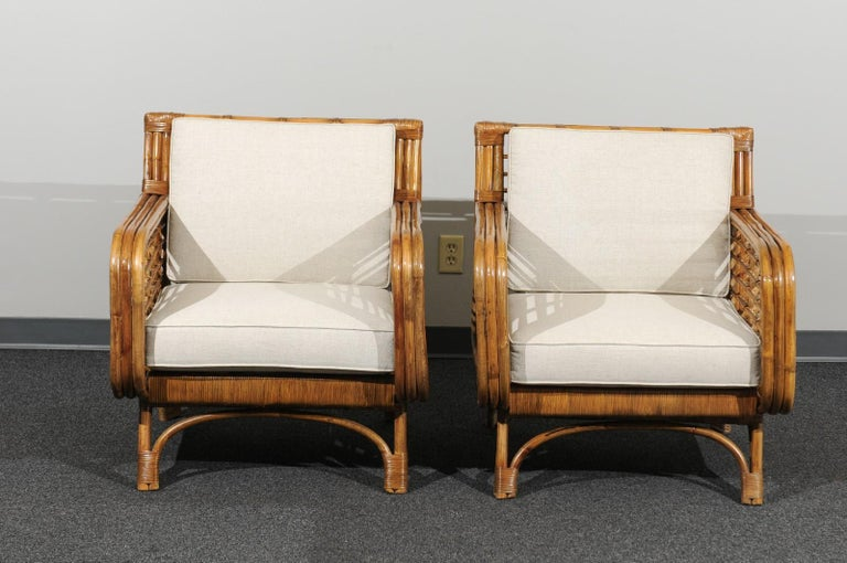 Beautiful Restored Pair of Birdcage Style Rattan Loungers, circa 1955 For Sale 7