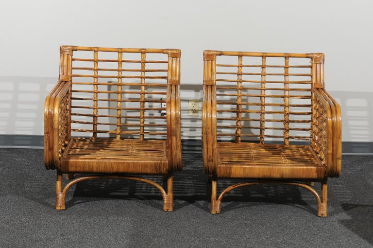 Beautiful Restored Pair of Birdcage Style Rattan Loungers, circa 1955 For Sale 8